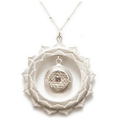 Sri Yantra Inner Circle Pendant with White Sapphire -Silver - Sage Moon