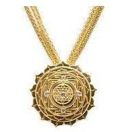Sri Yantra Elaborate Pendant with White Sapphires in Vermeil