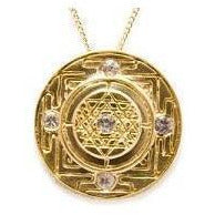 Sri Yantra Goddess Pendant with White Sapphires in Gold Vermeil