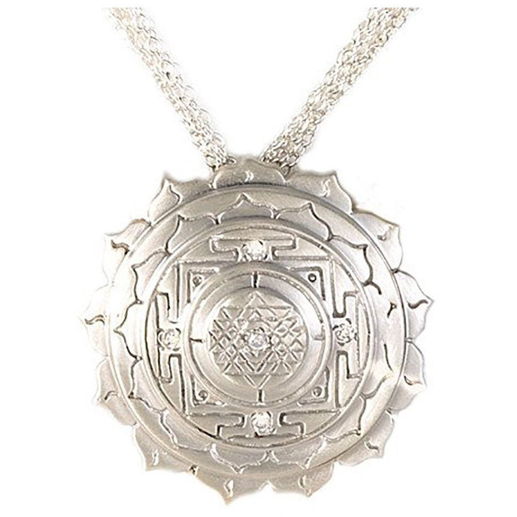 Elaborate Sri Yantra Pendant with White Sapphires - Silver - Sage Moon