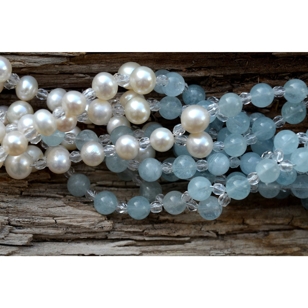 aquamarine and pearl tantric necklace