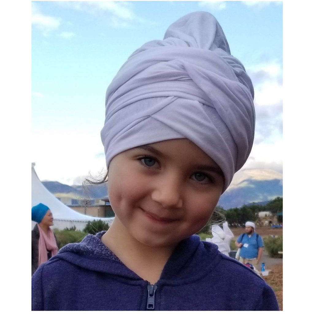 Child's white turban Headcovers- Sage Moon