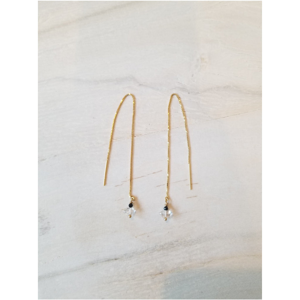 Herkimer Diamond Threader Earrings - Sage Moon
