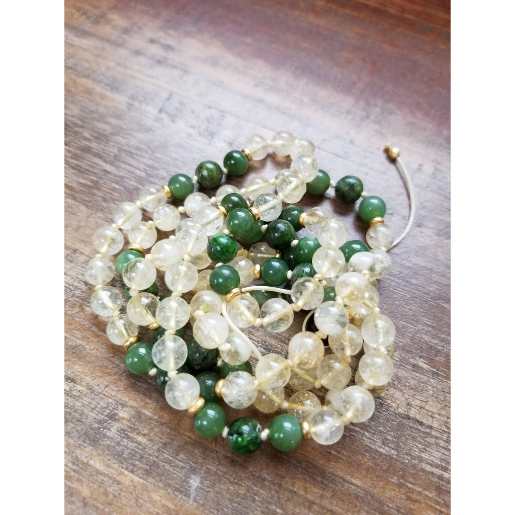 Siberian Emerald, Citrine and Jade Mala - Sage Moon