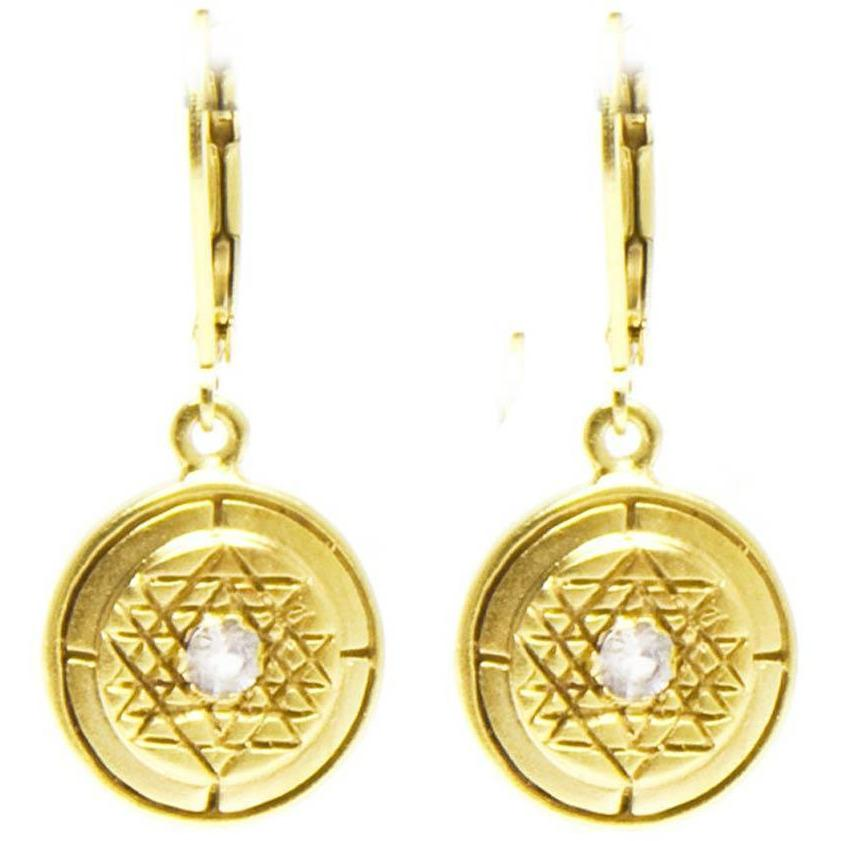 Sri Yantra White Sapphire Earrings in Gold Vermeil