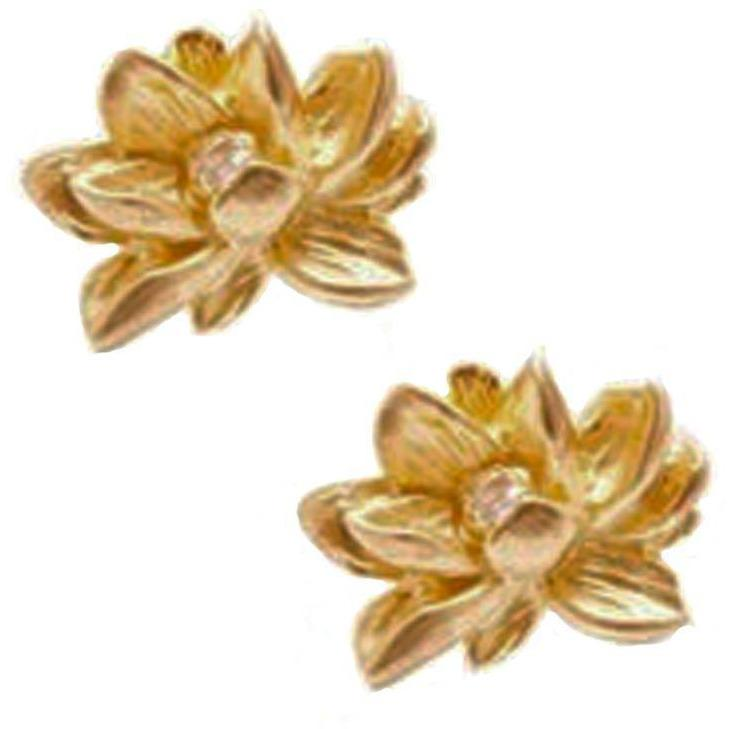 Gold Vermeil Lotus Flower Earrings - Sage Moon