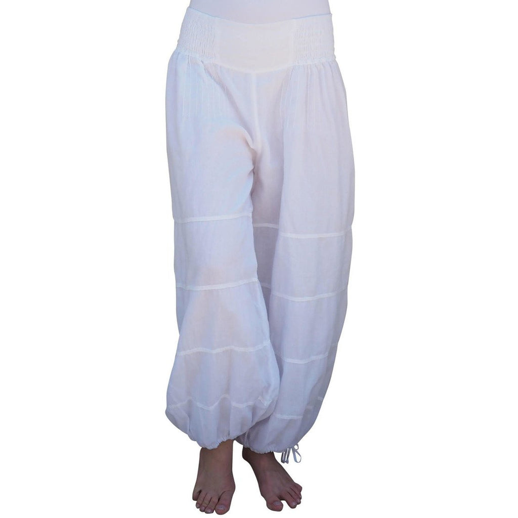 white cotton gauze lined pants alt view