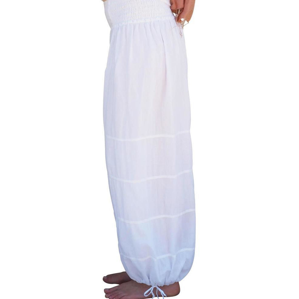 white cotton gauze lined pants side view