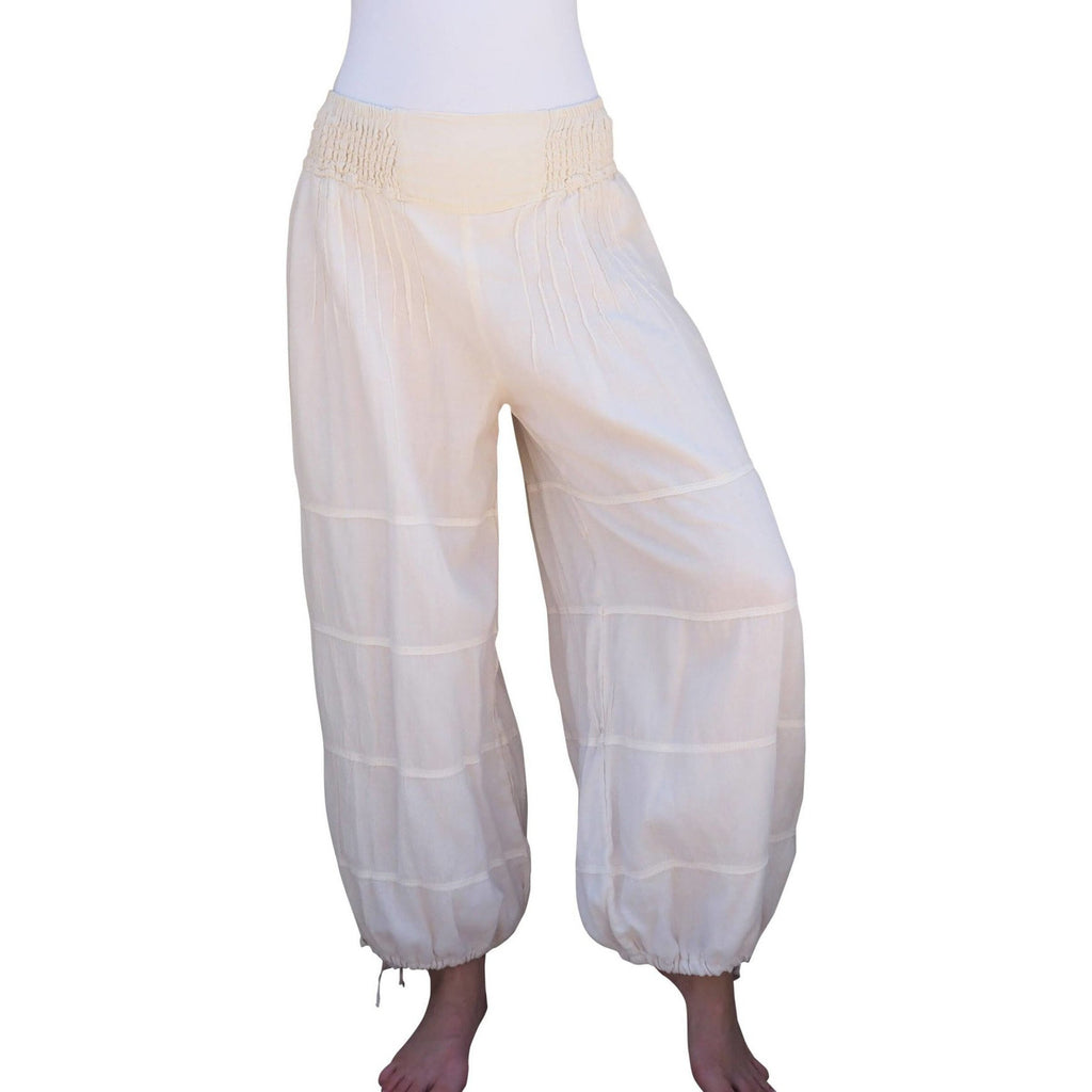cream color cotton gauze lined pants main view