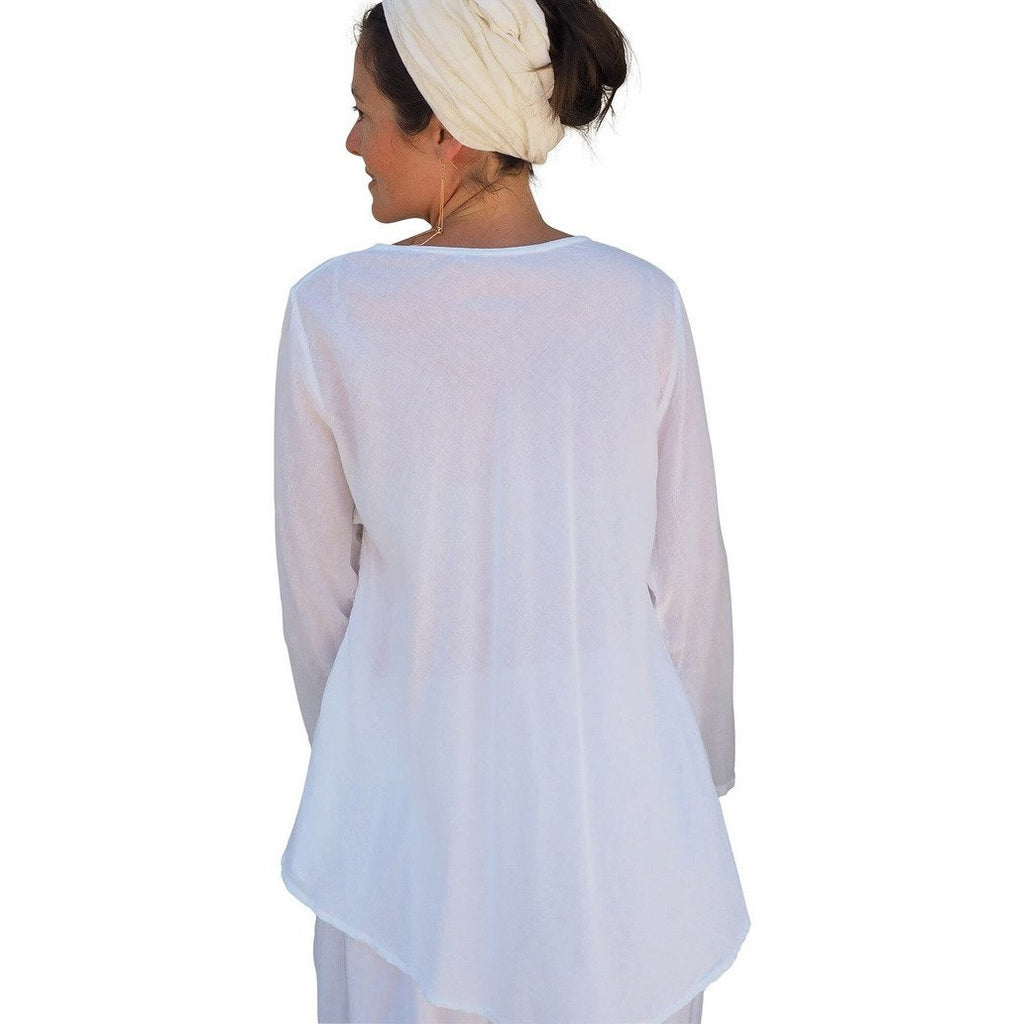 White Gauze Cotton Button Down Long Sleeve Top. Back view