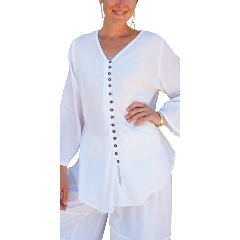 White Gauze Cotton Button Down Long Sleeve Top. Front view