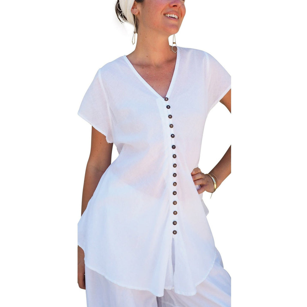 white cotton top with button on woman