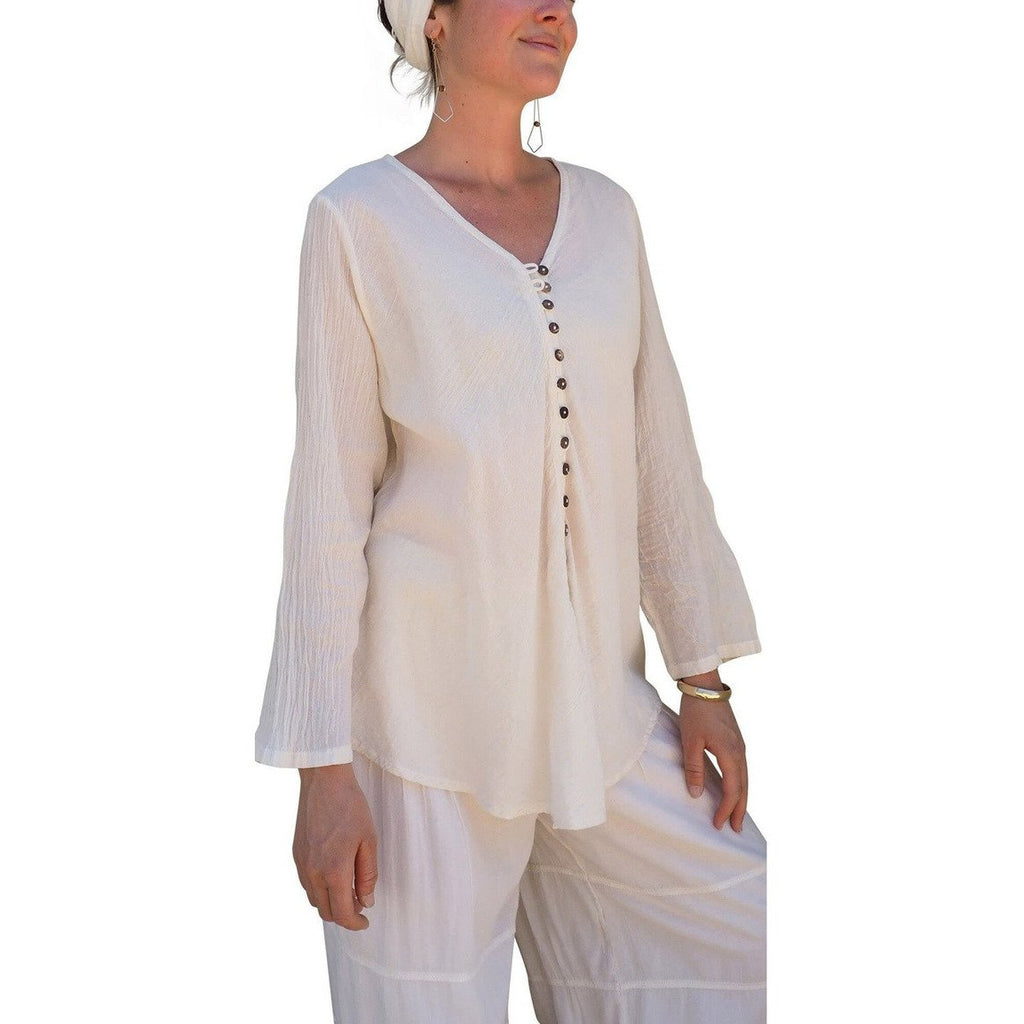 Cream Gauze Cotton Button Down Long Sleeve Top on woman