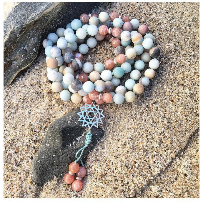 Amazonite and Sunstone Heart Chakra Mala