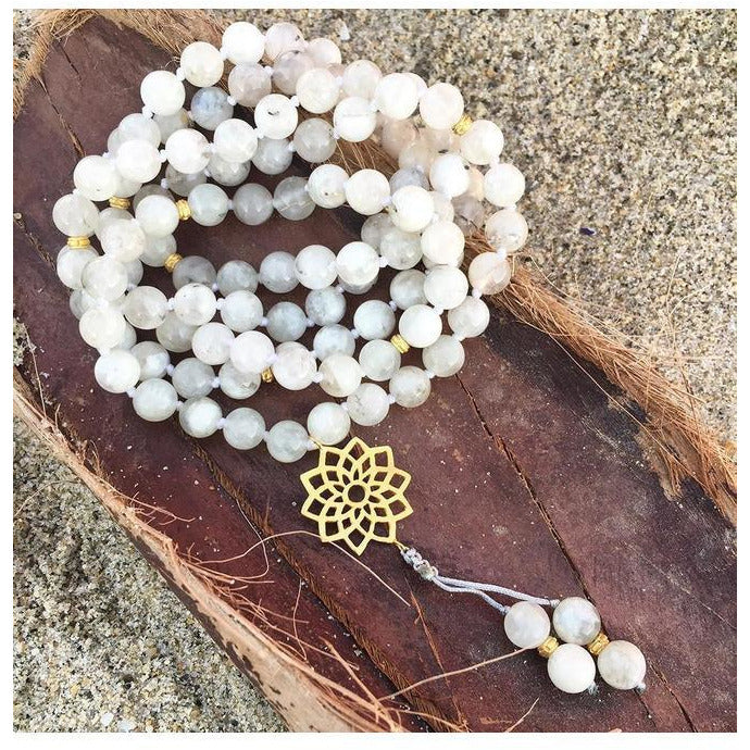 Moonstone Crown Chakra Mala Jewelry- Sage Moon