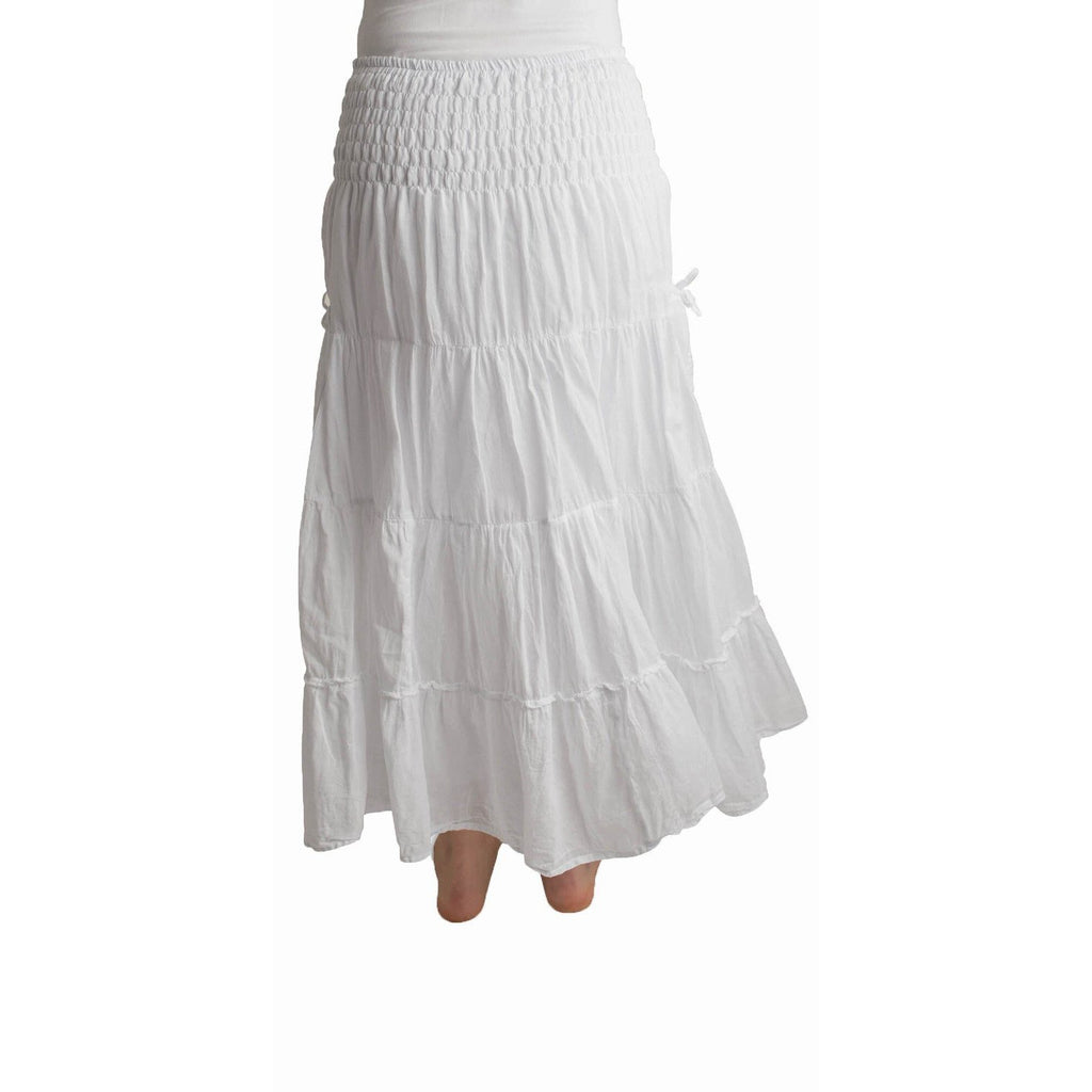White Maxi Skirt with pockets. Back View
