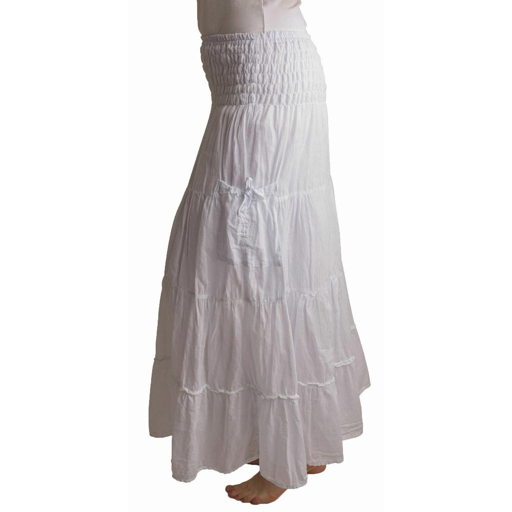 White Maxi Skirt with pockets. Side view
