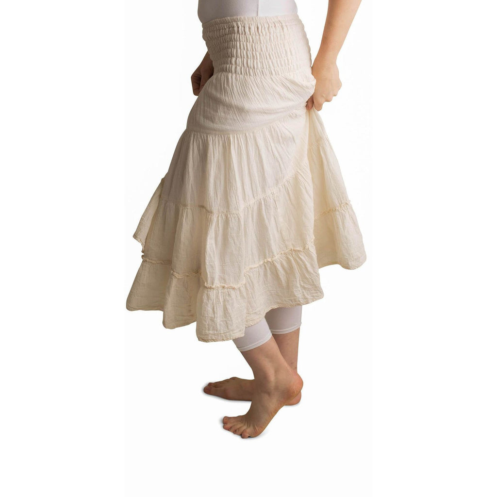 White tiered skirt. Side view.