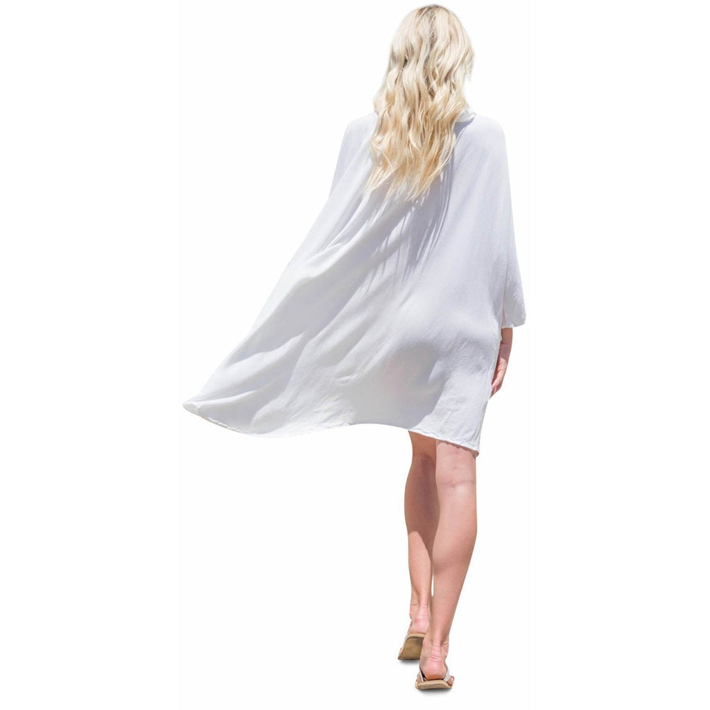 White Hooded Dress Top. Back view