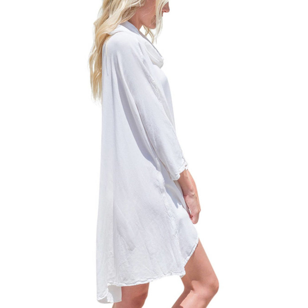 White Hooded Dress Top side view