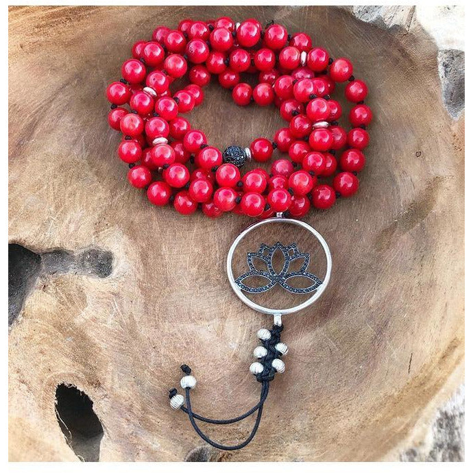 Coral and Black Onyx Protection Mala