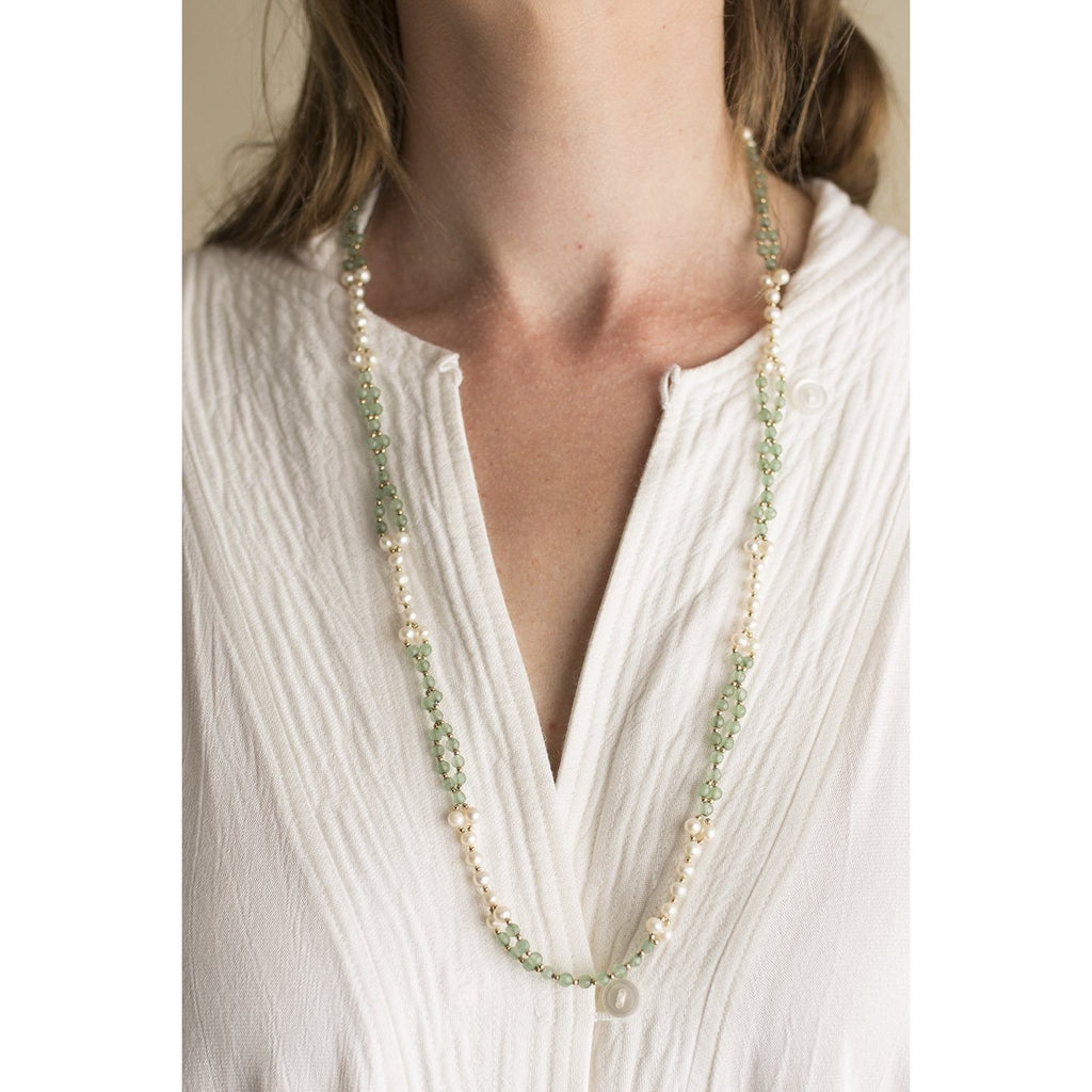aventurine and pearl tantric necklace on female