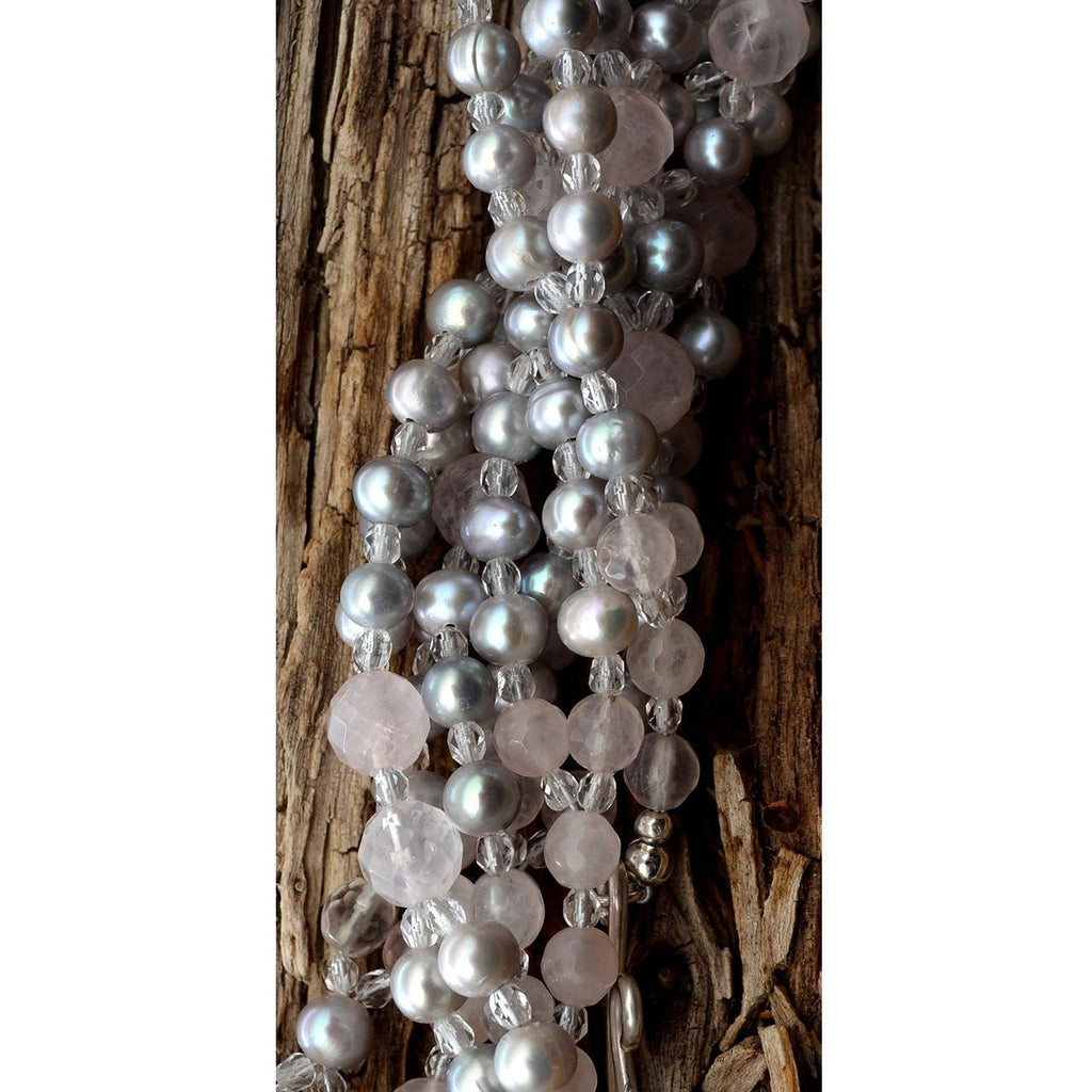 close up of quartz and grey pearl tantric necklace