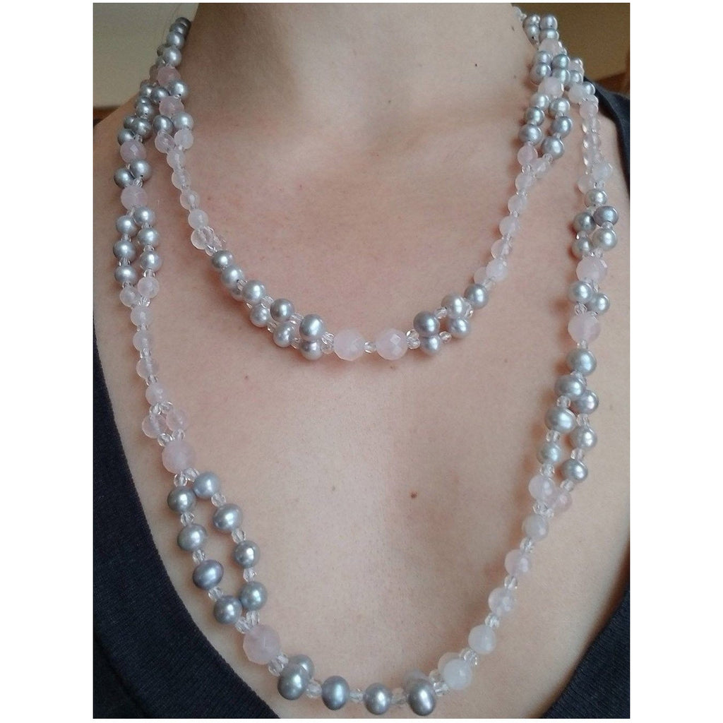 Grey Pearl and Rose Quartz Tantric Necklace