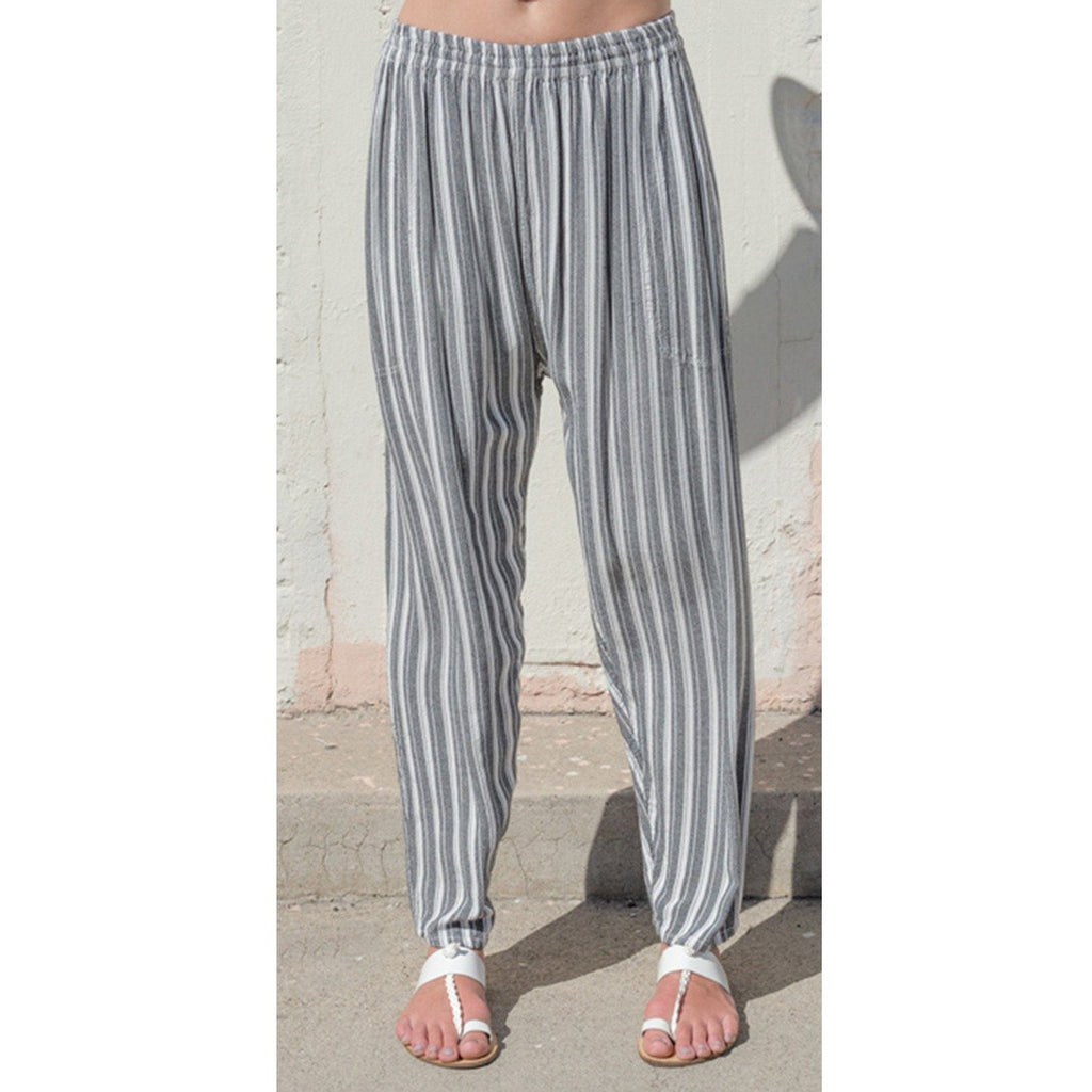 Striped tapered pants. Front view.