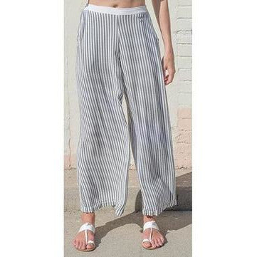 Striped wide leg pant. Front view.