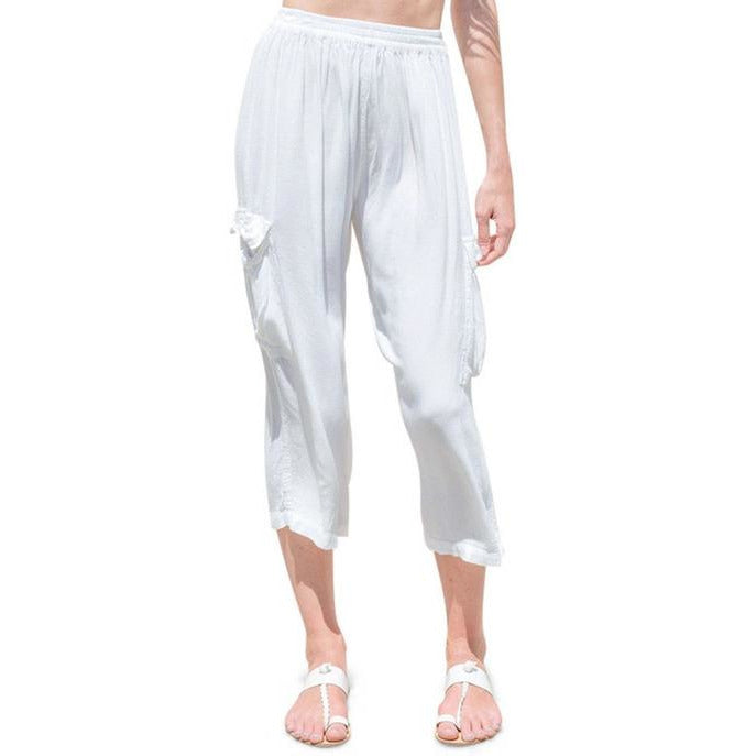 white cargo pants front view