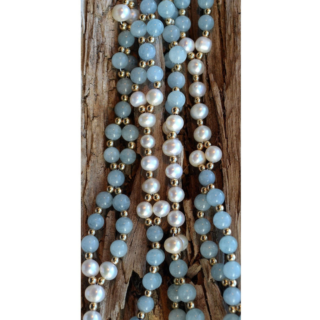 pearl and aquamarine tantric necklace close up