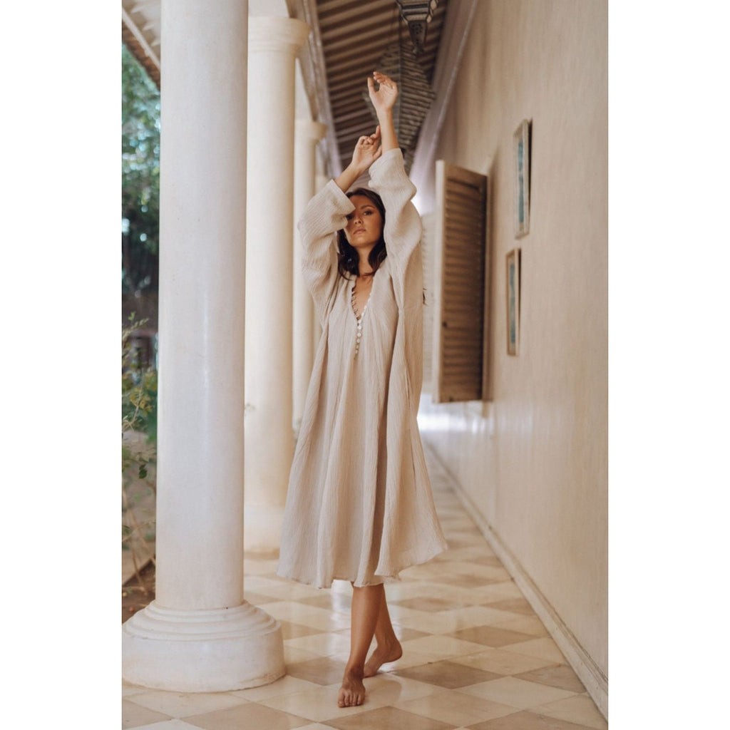 Short Linen Frida Gown - Sage Moon