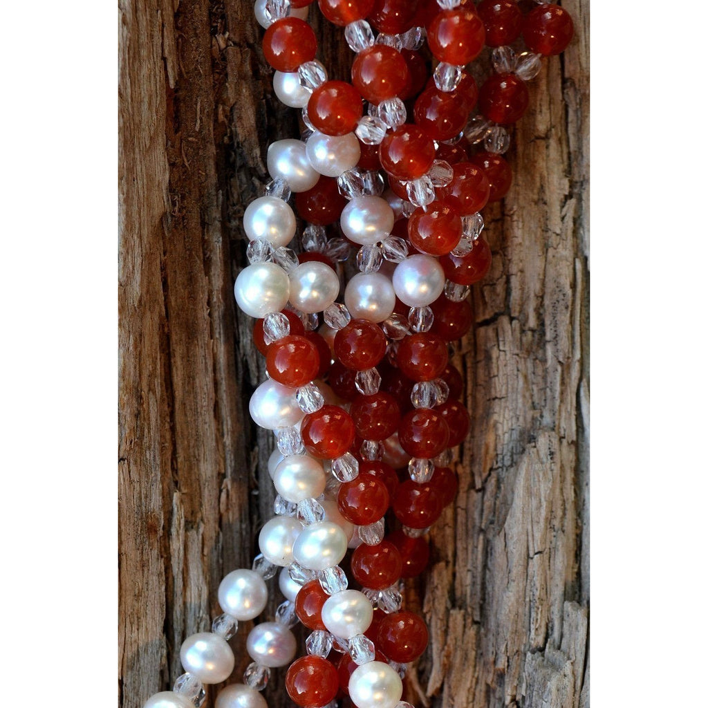 Carnelian and Pearl Tantric. Close Up