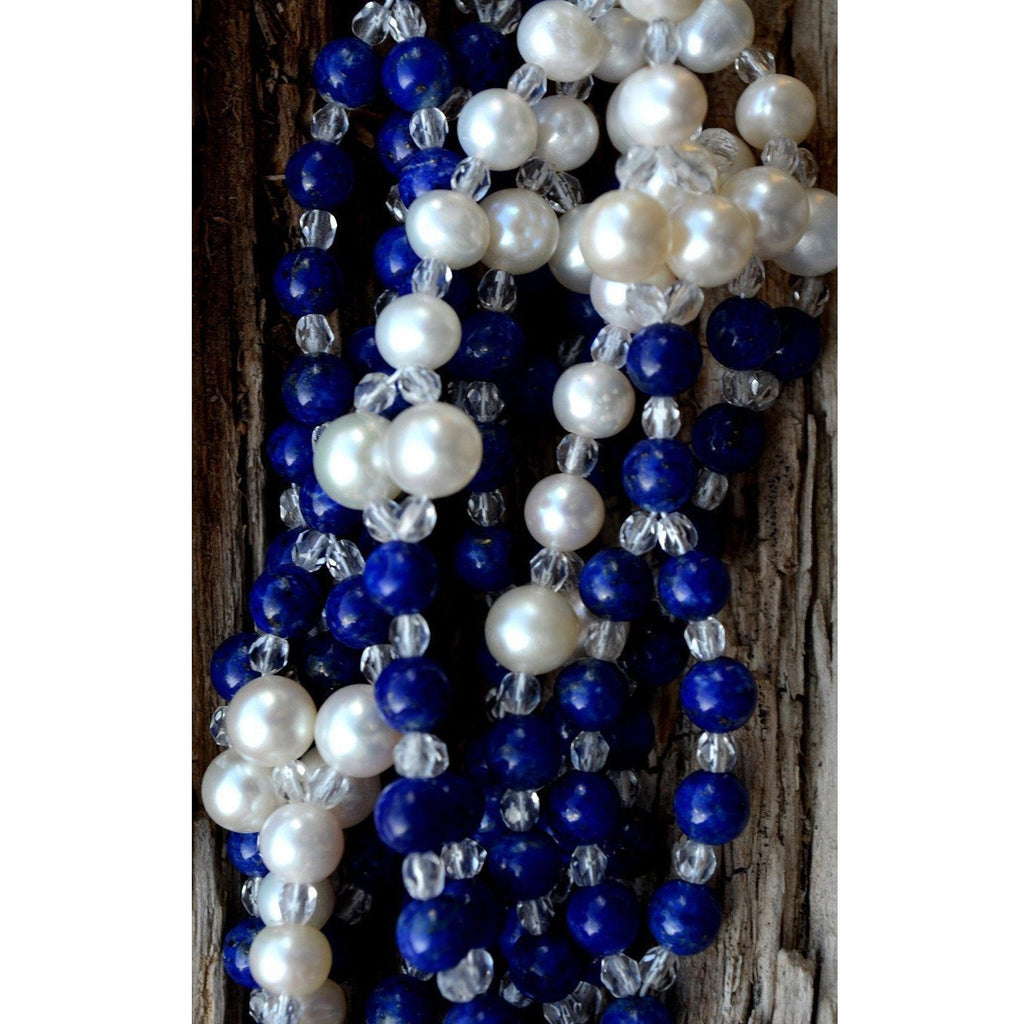 Lapis Lazuli and Pearl Tantric Necklace