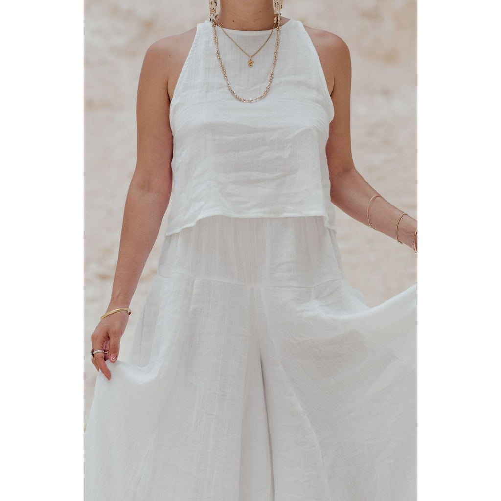 River Set (top and pants) in white or flax - Sage Moon