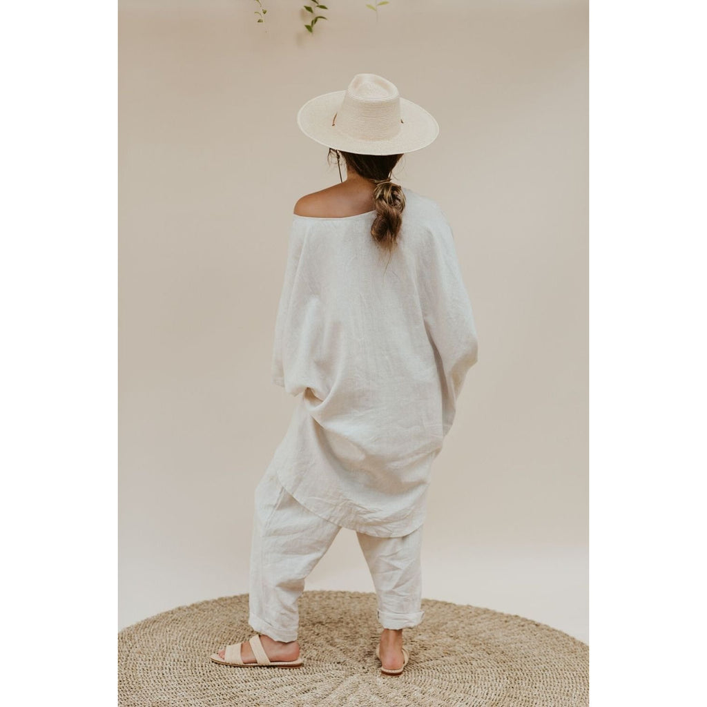 Butterfly Tunic and Mona Pant Set (100% linen) - Sage Moon