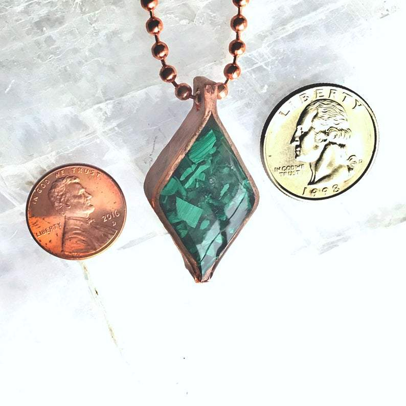 EMF Protection Diamond Malachite Pendant - Sage Moon