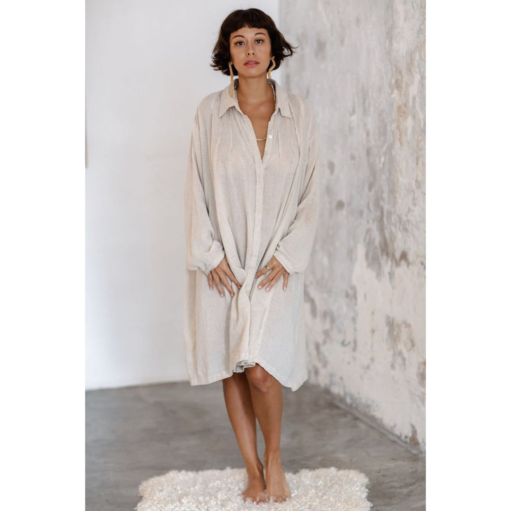 Kundalini Gown-Short Edition in Cotton/Linen - Sage Moon