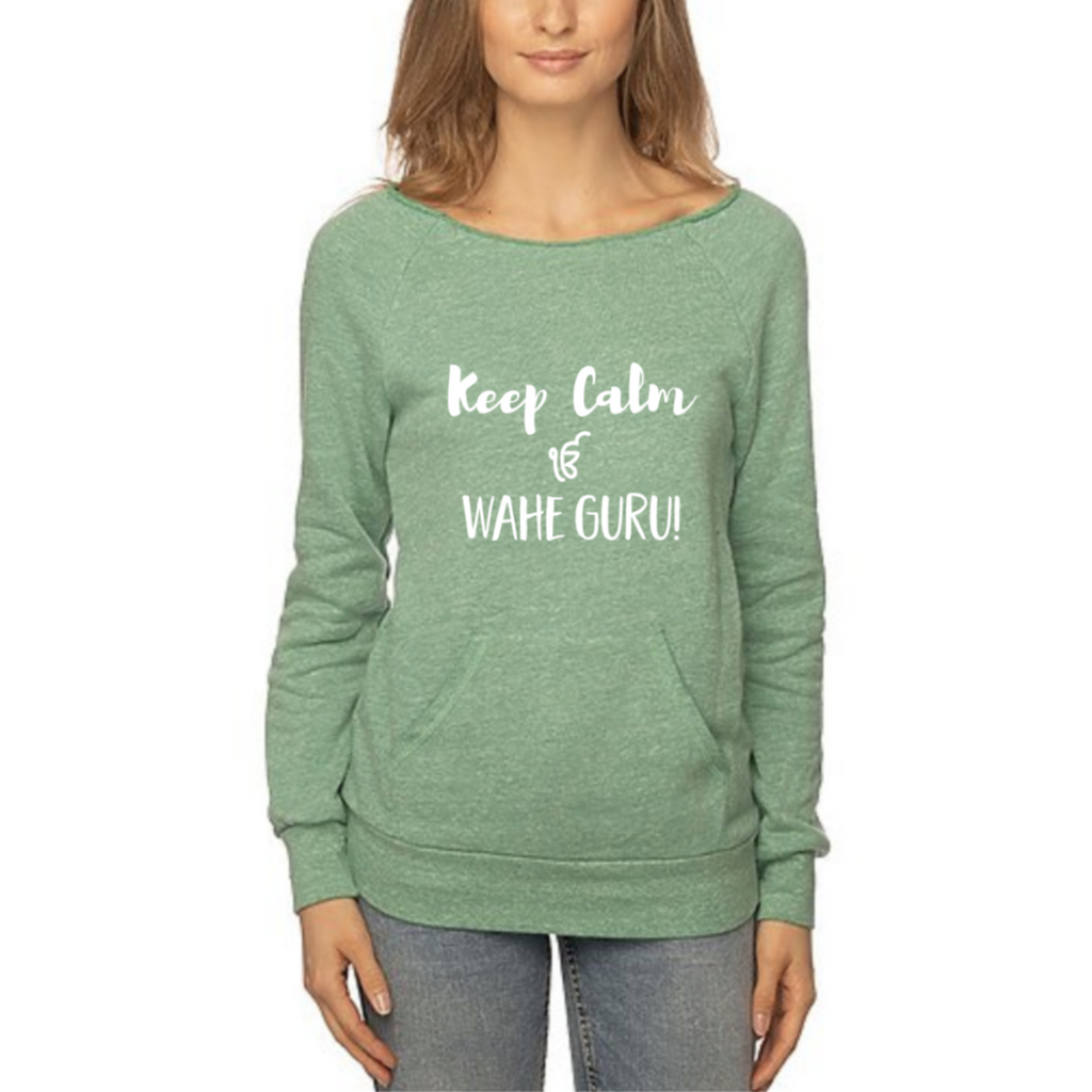 Keep Calm Ek Ong Kar Wahe Guru Eco blend Fleece - Sage Moon
