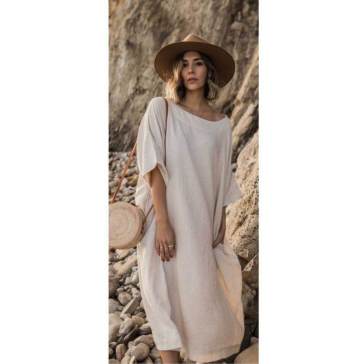 Classic Dress (linen and cotton blend) - Sage Moon
