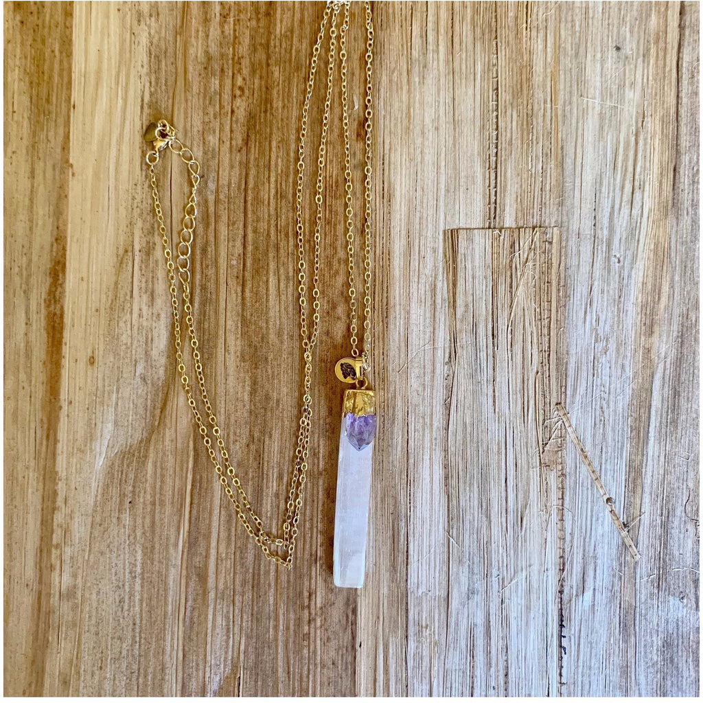 Selenite and Amethyst Wand Necklace - Sage Moon