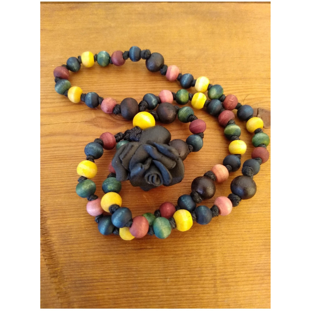 Black Rose Rainbow Rosary - Sage Moon