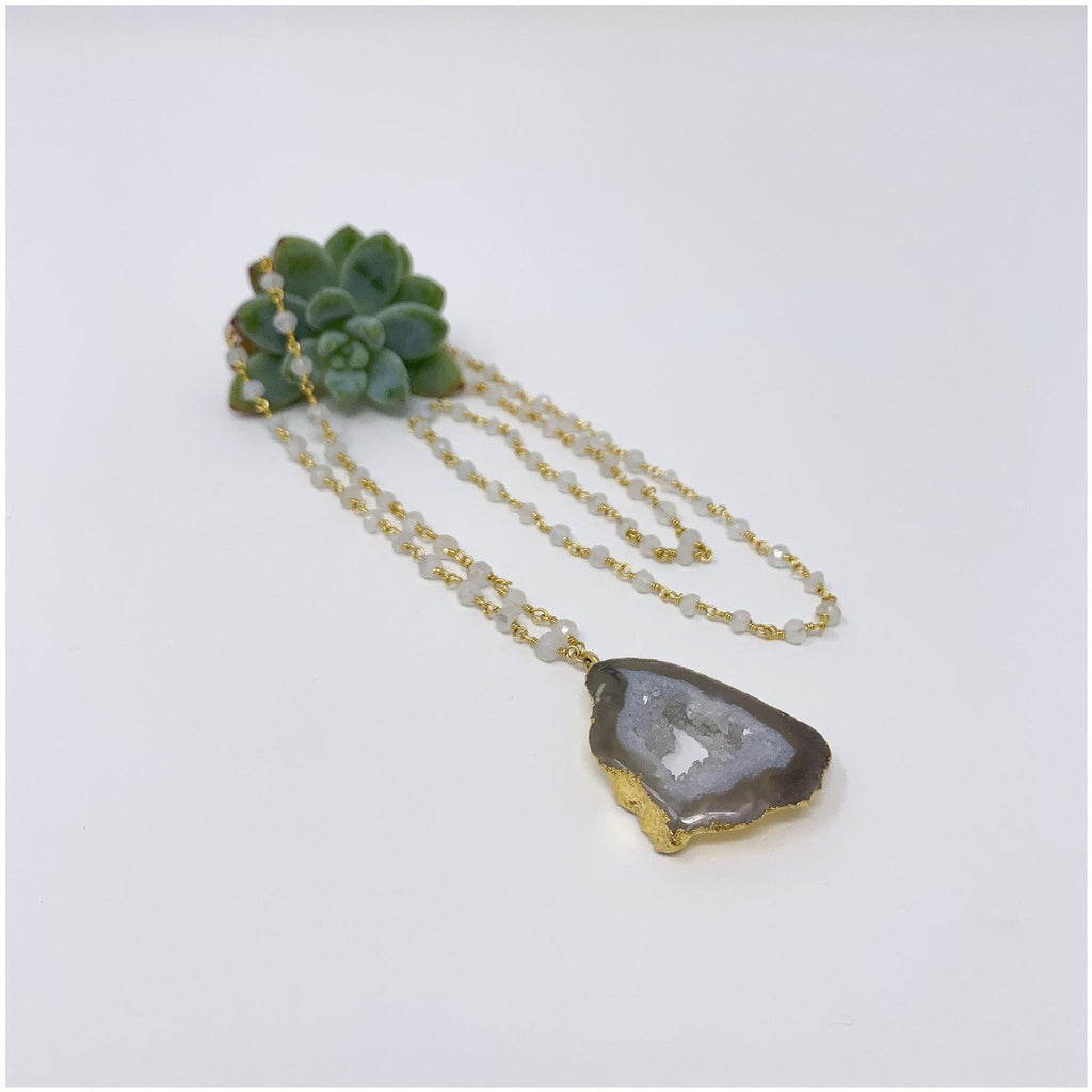Radiant Druzy Quartz Necklace - Sage Moon