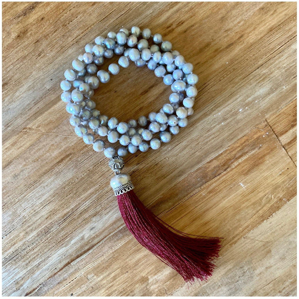 Grace Mala with Pearls - Sage Moon