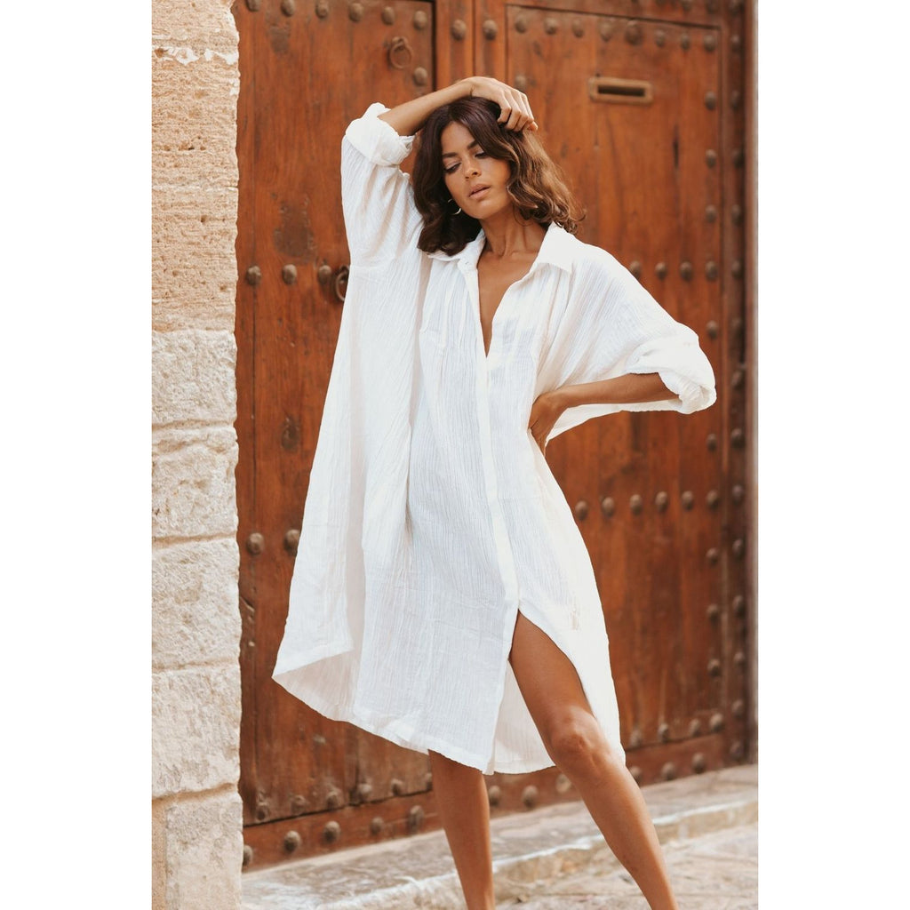 Kundalini Gown in Linen/Cotton Luxe Short Edition - Sage Moon