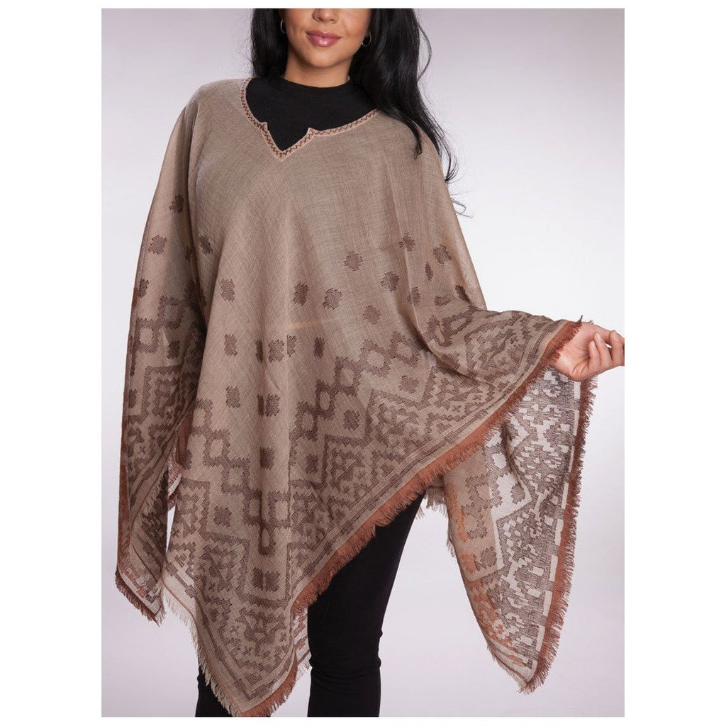 Wool & Cotton Poncho Sweaters/Scarves- Sage Moon