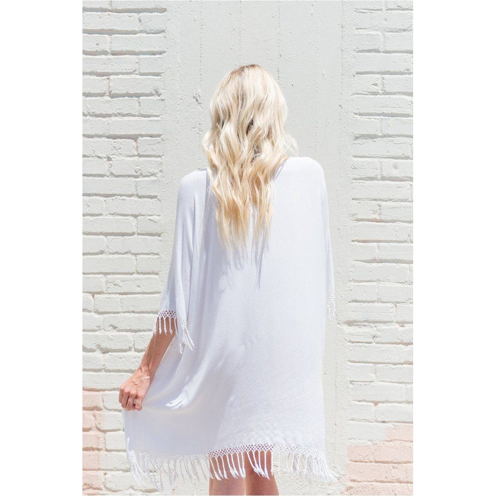 White Fringe Top. Back view
