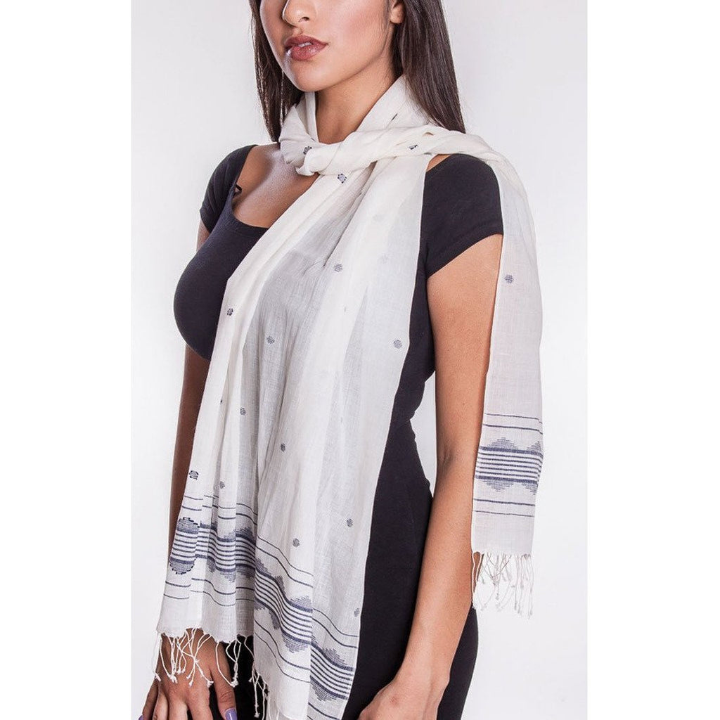 Handwoven White & Silver Scarf - Sage Moon