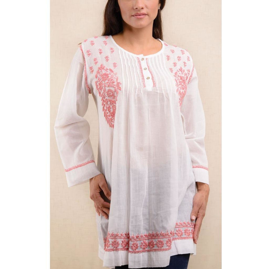 Hand Embroidered Tunic - Sage Moon